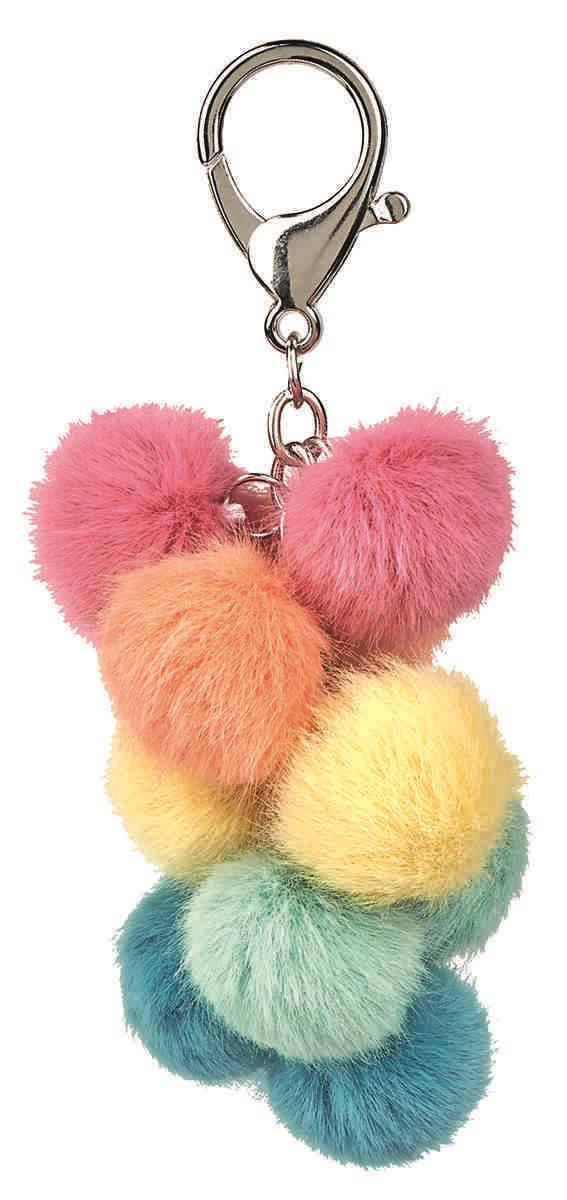 Happy me pompon sleutelhanger multicolor