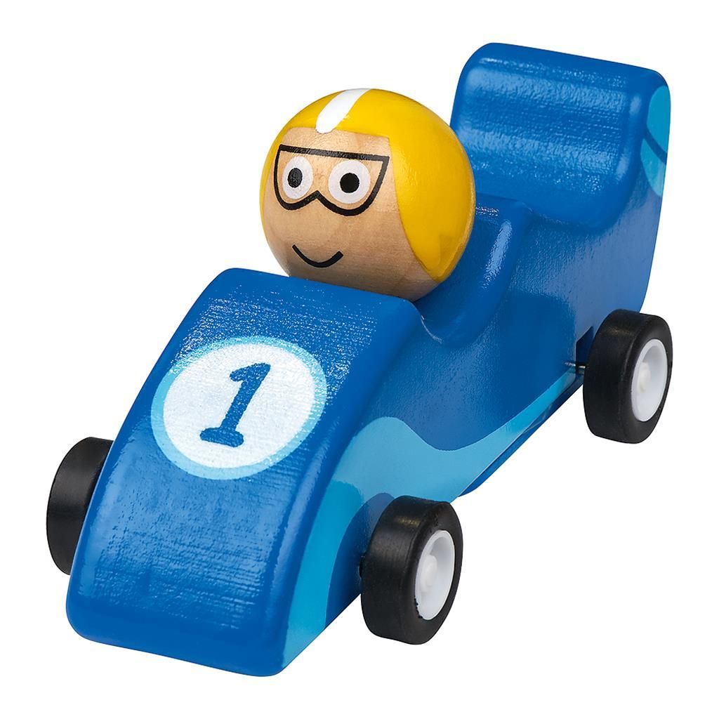 Houten racewagen frictie 4 assorti