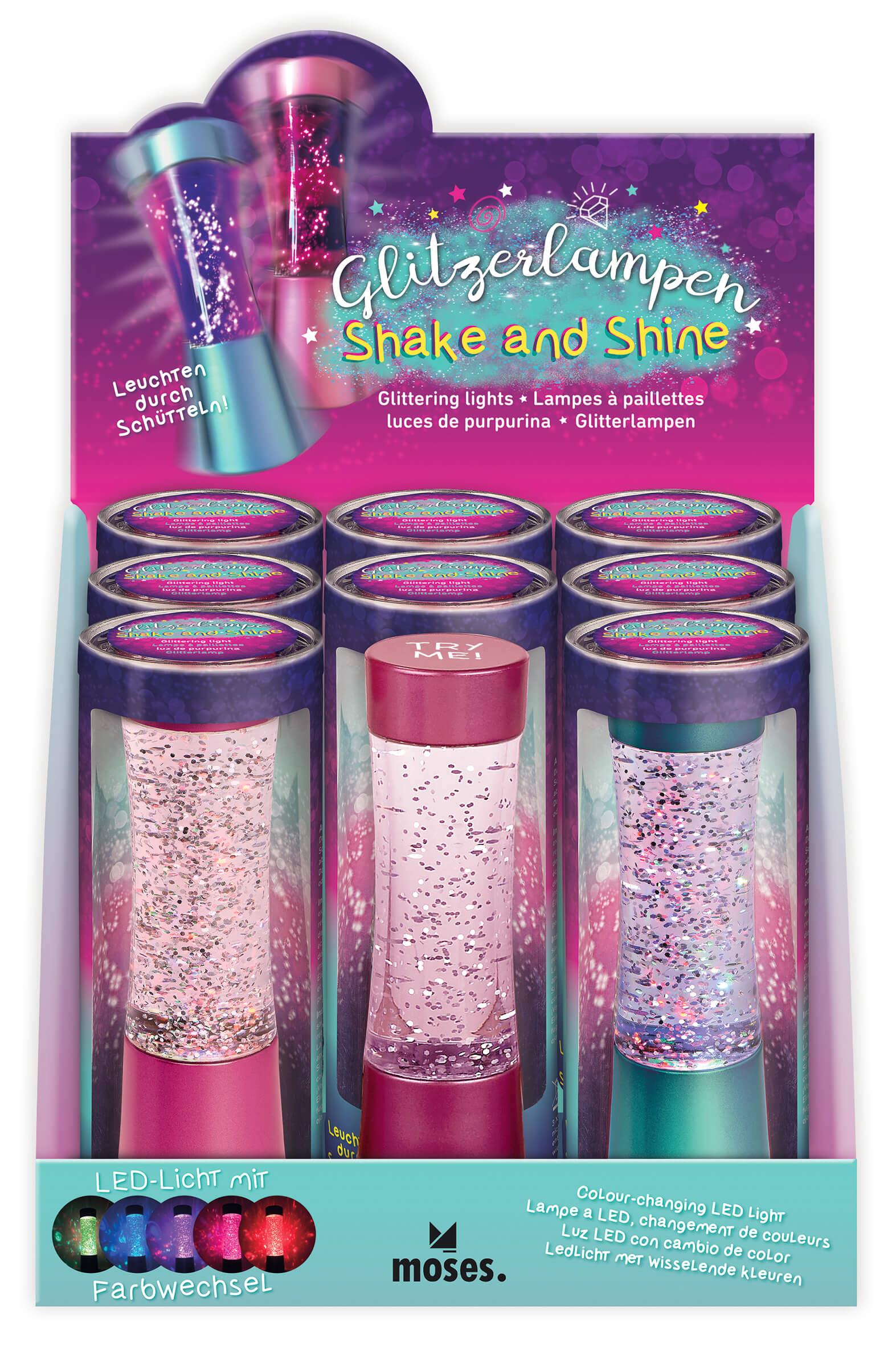 Glitter LED lamp Shake and Shine 15 cm
