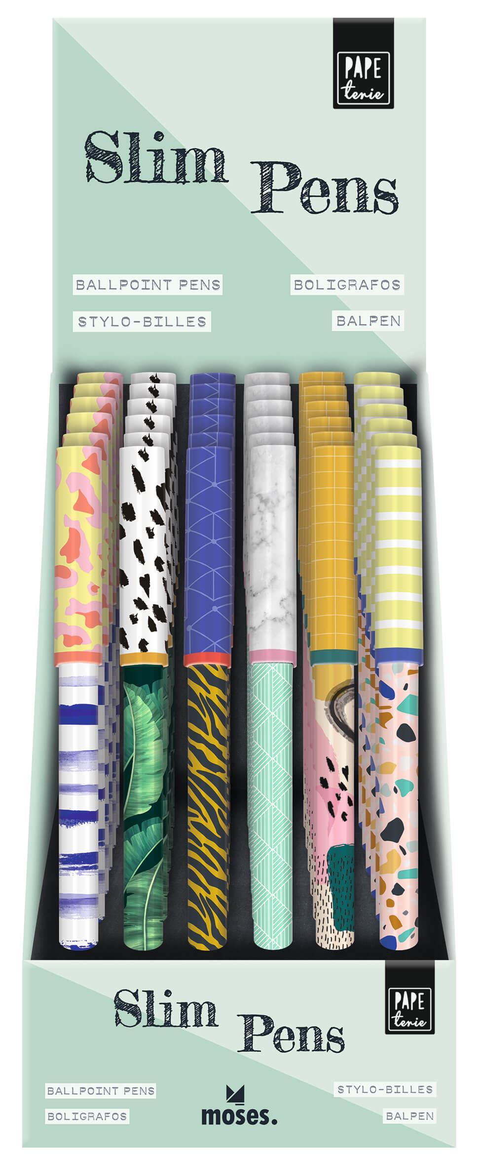 Balpen vrolijke print 6 assorti Slim pens