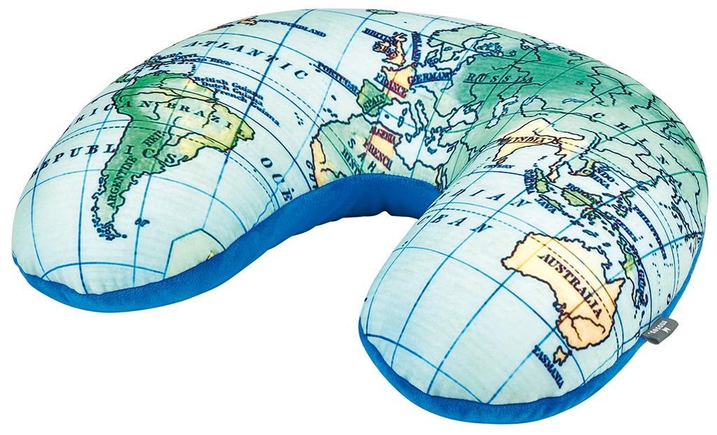Reizen nekkussen/kussen 2 in 1 wereldkaart